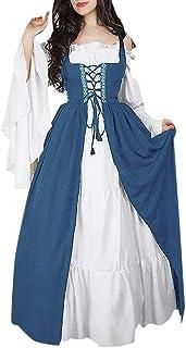 Gusspower Mujeres Vestidos de Fiesta Gótico Vestidos Medieval Vestidos Cosplay Manga Trompeta Retro Cuello Cuadrado Renacentista Princesa de Las Mujeres Vestidos Largos para Mujeres