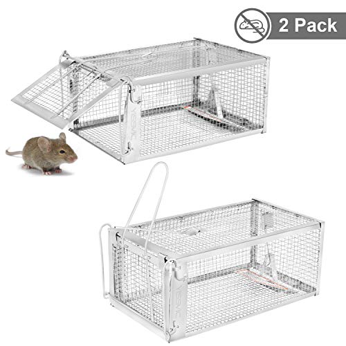 YISSVIC Live Animal Trap 2 Pack 11x4.5x6 inches Catch Release Cage for Mouse Rats Mice Rodents Squirrels and Similar Small Sized Pests