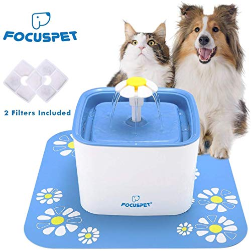 FOCUSPET Cat Water Fountain, 2.5L Automatic Intelligent Power Off Cat & Dog Water Dispenser Ultra Quiet&Hygienic with 2 Replacement Filters