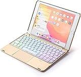 Jennyfly Clavier Bluetooth rétroéclairé 7 couleurs avec souris Panneau tactile pour la mise en veille automatique avec clavier sans fil confortable avec étui, 2019 iPad Air 3th Gen 10.5