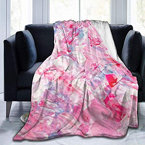 Rosa pennellate Bianche Candy Acrilico Stampa su Tela Coperta da viaggio in micropile accogliente e morbido, ideale per viaggi o Relax a casa, 102X127 cm