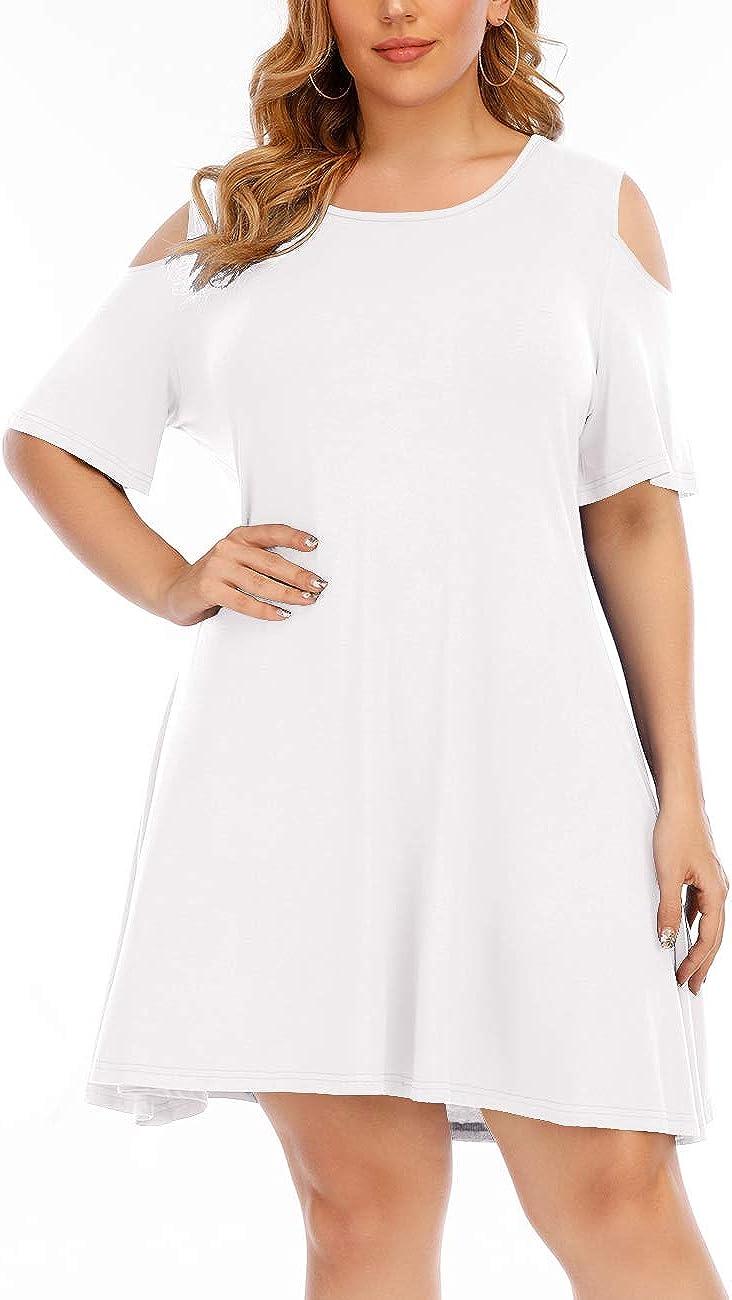 Aksbgg Womens Plus Size Short Sleeve Mini Dress Cold Shoulder T-Shirt Swing Tunic Dress