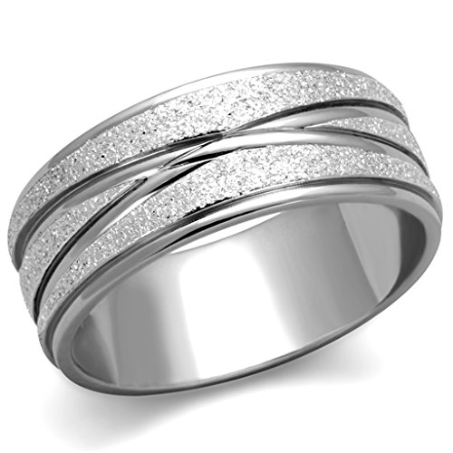 Marimor Jewelry Stainless Steel 316 Glitter 8mm Wide Anniversary Wedding Band Ring Size 7