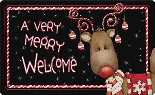Candy Cane Reindeer 24 x 36 Inch Decorative Floor Mat Welcome Merry Christmas Ornament Holiday Doormat
