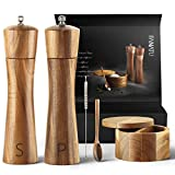 Wood Salt and Pepper Grinder Set - Premium Set Includes 8 Inch Salt and Pepper Mill, Salt and Pepper Box with Swivel Lid, Spoon & Cleaner Tool - Perfect Salt and Pepper Shakers Gift (8 inch)