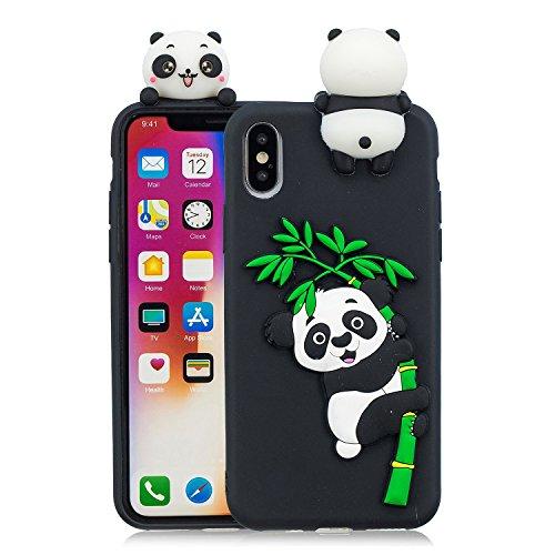 HUDDU Compatible for Handyhülle iPhone XS Silikon Hülle Weihnachten Motiv Panda 3D Karikatur Muster Schutz Handyschale Weiche Silikon TPU Tasche Case Cover Schutzhülle iPhone X/iPhone XS - Schwarz