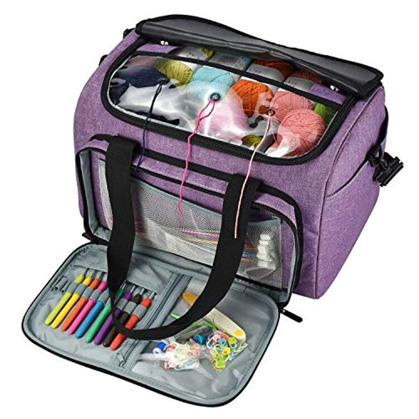 SUNTQ Yarn Storage Knitting Bag with Inner Divider for Yarn and Unfinished Project, Easy to Carry Crochet Hooks, Knitting Needles and Accessories, High Capacity-No Accessories Included