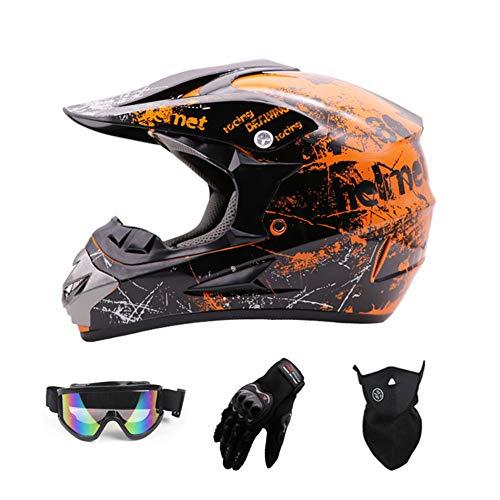 SanQing Motocross Helmet,Full Face Off Road Motocross Quad Crash Helmet ECE Downhill Dirt Bike MX ATV Adult Motorbike Helmet Gloves, Goggles, Mask 4 Piece Set,Orange,L