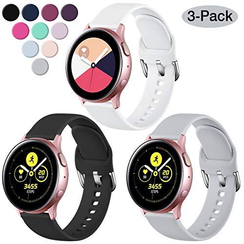 Vobafe Correa Compatible con Samsung Galaxy Watch Active/Active 2 (40mm/44mm), Correas de Repuesto de Silicona Suave con Cierre para Galaxy Watch 3 41mm/Gear Sport, S Negro/Blanco/Gris