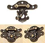 Tia Small Retro Look Stylish Antique Polished Metal Lock/Buckle/Latch/Hook/Swing Clasp for Wood Jewellery Box and DIY Works (Size: 40x30 mm Approx, 2)