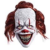 Halloween IT Scary Cosplay Clown Joker Mask Party Costume Decorations Huanted House Decoration Props Creepy Latex Mask