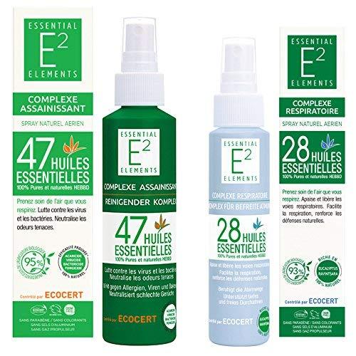 Kit de protección : Spray desinfectante con 47 aceites esenciales Spray respiratorio con 28 aceites esenciales (facilita la respiración, refuerza las defensas naturales.)