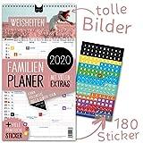 Familienplaner 2020 – WEISHEITEN | 5 Spalten | Wandkalender: 23x43cm | Familienkalender Extras: 180 Sticker, Ferien 2020/21, Pollen-, Obst- & Gemüse-, Jahreskalender, Vorschau bis März 2021