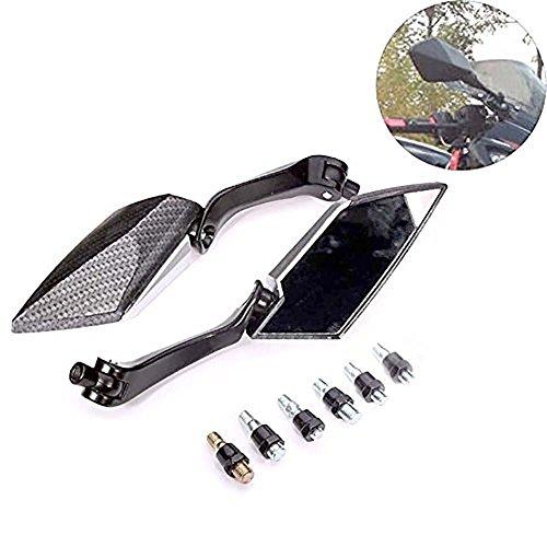 KATUR Motorrad 8MM 10MM Lenkerendspiegel Rückspiegel Motorrad Black Edge Cut Blade Style Carbon Rückspiegel für H onda Y amaha S uzuki K awasaki