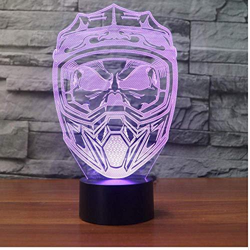 Creativo 3D llevó la luz de la noche USB Iluminación 7 colorida visión casco de la motocicleta máscara lámpara de escritorio decoración del hogar sueño luz regalo