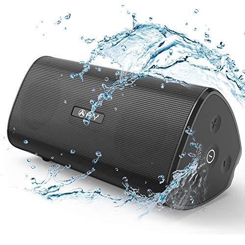 Altavoz 30W Portátil Bluetooth 5.0 AY, Impermeable IPX7 Altavozs Inalámbrico, Sonido estéreo HD Potentes conTWS & Micrófono, Resistente a Golpes, Autonomía de 24H para Camping,Viajes, Aire Libre. (Negro)