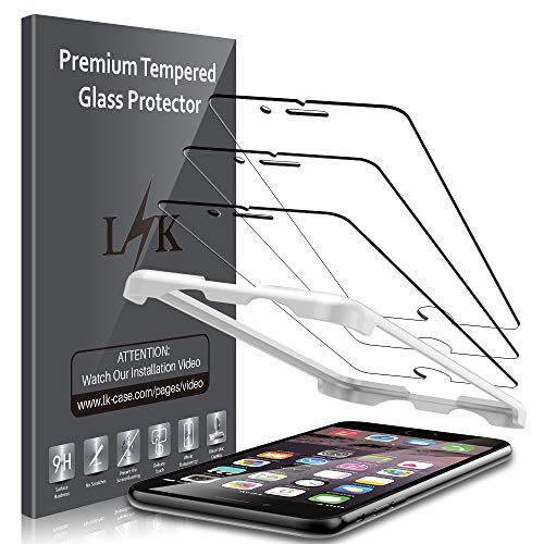[3 Pack] LK Screen Protector for iPhone 6 / iPhone 6S Tempered Glass (Alignment Frame Easy Installation) 3D Touch DoubleDefence Technology, 9H Hardness, Case Friendly