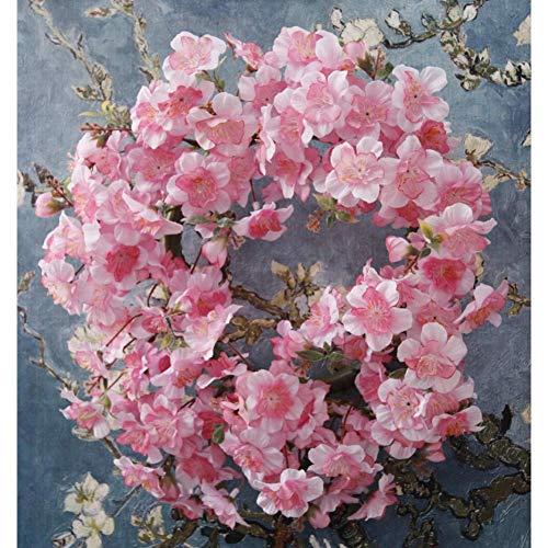 Home Garden Decoration, Cherry Blossoms Wreath Wedding Arch Artificial Sakura Flowers Home Party Door Decor Wall Garland Wreaths,Pink
