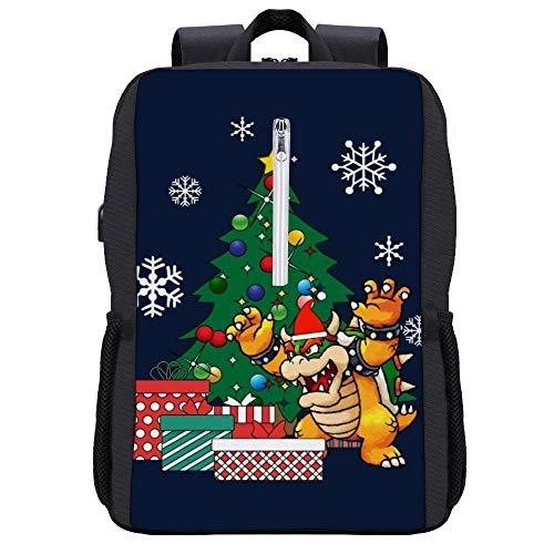 Bowser Around The Christmas Tree Backpack Daypack Bookbag Laptop School Bag with USB Charging Port