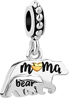 Mother Mom Love Child Charms Elephant Mama Bear Beads for Snake Chain Bracelets