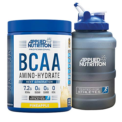 Applied Nutrition Bundle: BCAA Amino Hydrate Powder 450g + 2.5 LTR Water Jug | Branched Chain Amino Acids Supplement with Electrolytes, B Vitamins, Intra Workout & Recovery Drink (Pineapple)