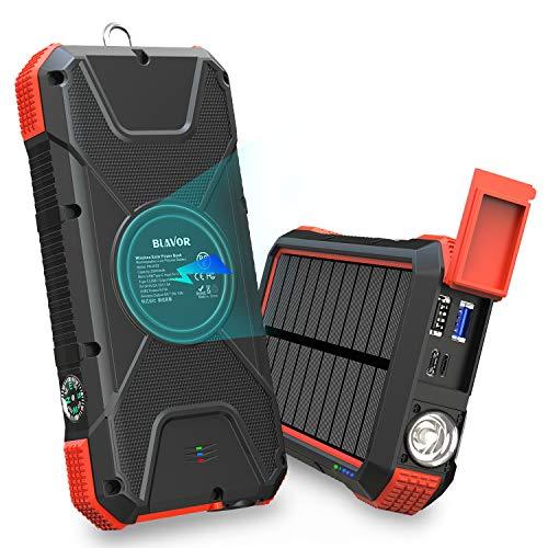 BLAVOR Wireless Power Bank 20000mAh Wasserdichtes Solar Ladegerät, induktives Laden Verbessert Externer Akku,Tragbare Notfall-Energie mit Type-C Eingangsports,2 USB,LED-Lich,Kompass