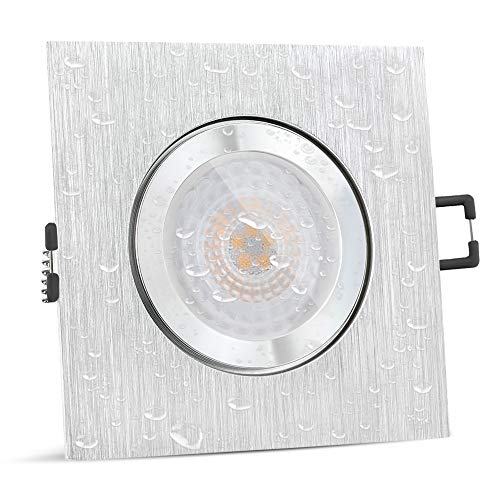 SSC-LUXon QW-2 flacher LED Badeinbaustrahler IP44 mit fourSTEP Modul Dimmbar ohne Dimmer - Spot eckig gebürstet 5W neutralweiß