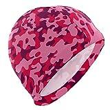 Tcerlcir Gorro Natación Patrón de Camuflaje Rosa Gorro de Piscina para Hombre y Mujer Hecho de Silicona Ideal para Pelo Largo y Corto