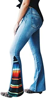 Color Blocking High Waist Jeans Women Button Pocket Trousers Bell-Bottom Pants
