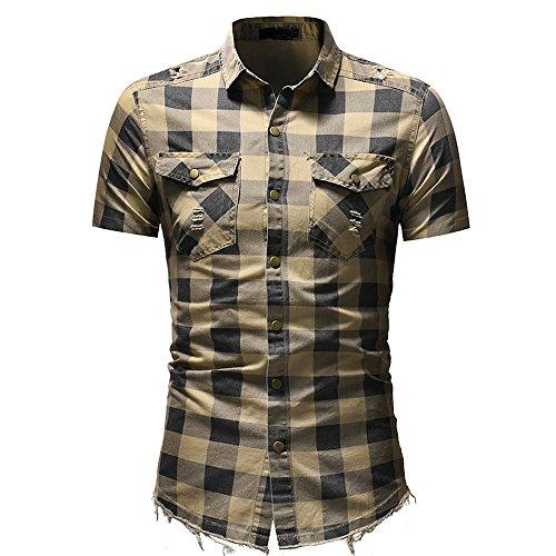 Men's Short Sleeve Tee Tops Slim Fit Button Turn Down Plaid Shirt with Pocket T-Shirts Blouse (M, Beige)