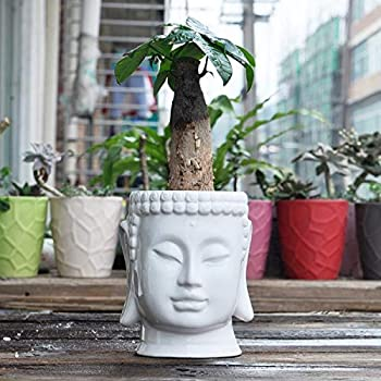 Buddha Head Ceramic Flower Pots & Planters White