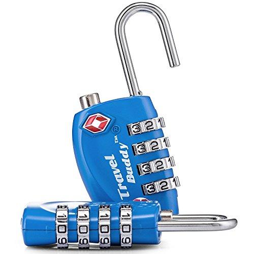 2 x TSA Candado de seguridad – 4-dial combinación de viaje maleta de equipaje bloqueo de código (AZUL) – Garantía de por vida