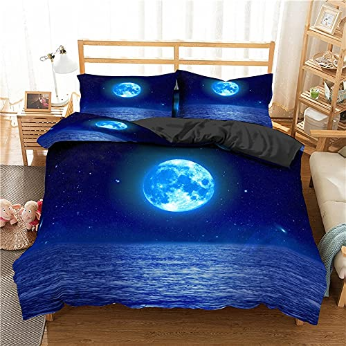 NBVGHJ Impresión De La Luna 3D 2/3 Piezas Cómoda Funda Nórdica Funda De Almohada Juegos De Cama Queen Y King EU/Us/Au Size 220×240CM