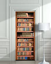 Wall Door STICKER books shelfs bookcase library , mural, decole, film 30x79