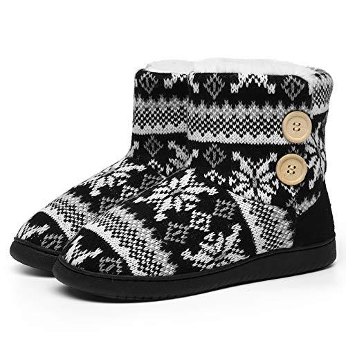 AONEGOLD Zapatillas de Casa para Mujer Bota Cálida Invierno Forro de Felpa Pantuflas Cómodo Antideslizante Botines De Punto para Interiores(Negro,Tamaño 44-45)