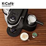Keurig K-Cafe Coffee Maker, Single Serve K-Cup Pod Coffee, Latte and Cappuccino Maker, Comes with Dishwasher Safe Milk… 26 COFFEE, LATTES & CAPPUCCINOS: Use any K-Cup pod to brew coffee, or make delicious lattes and cappuccinos. SIMPLE BUTTON CONTROLS: Just insert any K-Cup pod and use the button controls to brew delicious coffee, or make hot or iced lattes and cappuccinos. LARGE 60oz WATER RESERVOIR: Allows you to brew 6 cups before having to refill, saving you time and simplifying your morning routine. Removable reservoir makes refilling easy.