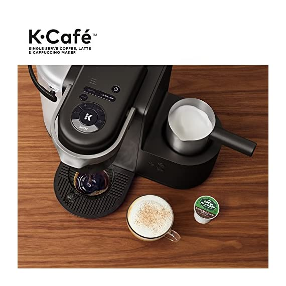 Keurig K-Cafe Coffee Maker, Single Serve K-Cup Pod Coffee, Latte and Cappuccino Maker, Comes with Dishwasher Safe Milk… 10 COFFEE, LATTES & CAPPUCCINOS: Use any K-Cup pod to brew coffee, or make delicious lattes and cappuccinos. SIMPLE BUTTON CONTROLS: Just insert any K-Cup pod and use the button controls to brew delicious coffee, or make hot or iced lattes and cappuccinos. LARGE 60oz WATER RESERVOIR: Allows you to brew 6 cups before having to refill, saving you time and simplifying your morning routine. Removable reservoir makes refilling easy.