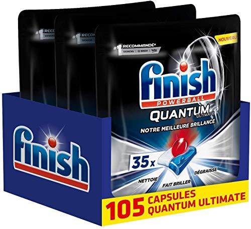 Finish Pastilles Lave-Vaisselle Powerball Quantum Ultimate - 105 Tablettes Lave-Vaisselle
