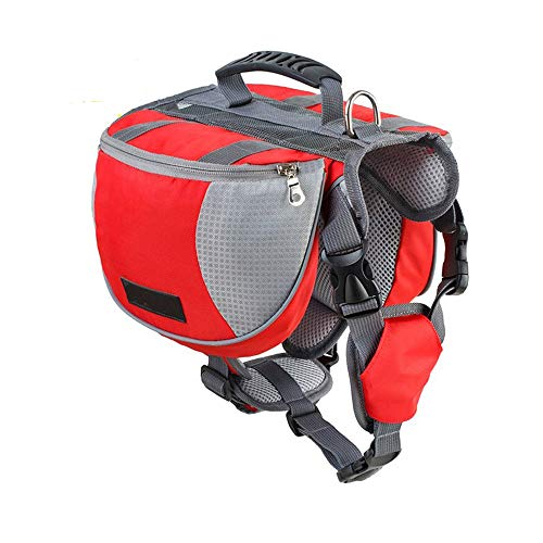 Lifeunion Adjustable Service Dog Supply Backpack Saddle Bag for Camping Hiking Training(Red,Large)
