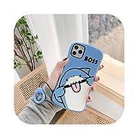 きれいだ かわいい漫画動物サメ電話ケースFor iphone 11プロマックスXR XsマックスX 7 7プラス7 8プラスケースソフトシリコンカバーストラップ付き-A-For iphone 8