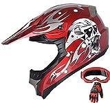 Adult Motocross ATV Helmet Dirt Bike Off Road Mountain Bike Helmet Goggles Gloves Combo M181 Red (XL)