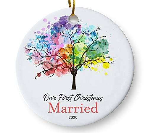 Our First Christmas Married 2020 Ornament, Newlywed Couples Keepsake Wedding Present, Rainbow Tree 3 Inch Flat Ceramic Ornament with Gift Box
