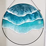 Ocean Wave Window Hanging Ornament, Blue Glass Sea High Stained Wall Decoration for Home Living Room Bedroom Gifts for Ocean Lovers, Acrylic Made (A)