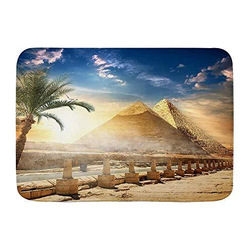 NA Alfombra de baño Antideslizante, pirámide egipcia y Palmera de Khafre Cerca...