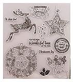 Weihnachten Transparente Briefmarke Frohe Weihnachten Stempel Rentier Stern Muster Silikonstempel...