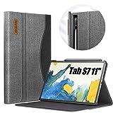 INFILAND Hülle für Samsung Galaxy Tab S7 11 2020, Business Folio Bezug Hülle Tasche für Samsung Galaxy Tab S7 11 (T870/T875) 2020, Auto Schlaf/Wach, Grau