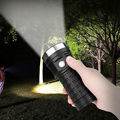 ToDIDAF Lampe Torche étanche 2000 LM Rechargeable XHP70 LED Spotlight Lampe Glare Big Flashlight Coque Antidérapante pour Escalade Camping Randonnée Maison Réparation