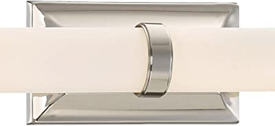 Home Decorators Collection 12 Watt Polished Nickel Integrated Led Bath Light With Tube Etched Glass Amazon Com
