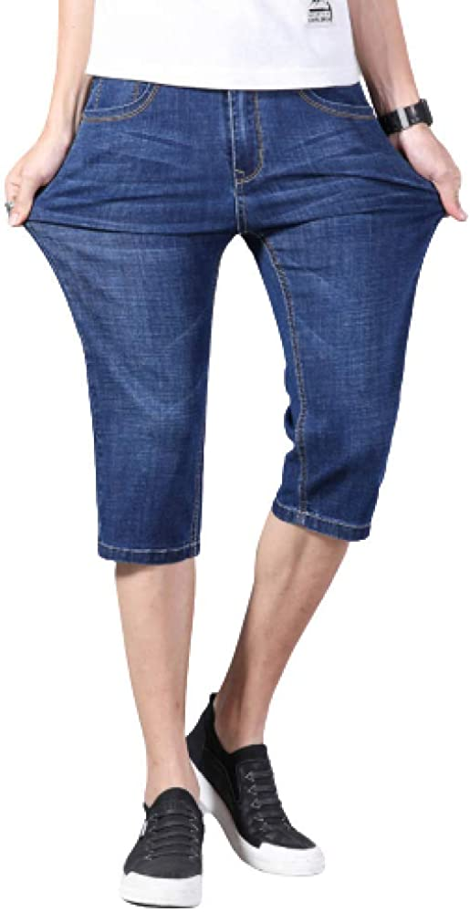 Men's Shorts Casual Large Size Fashion Summer Thin Slim Stretch Denim Shorts 32