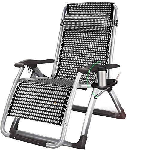 LOVEHOUGE Zero Gravity - Sillones reclinables plegables de jardín extra anchos, tumbona plegable para patio al aire libre con almohada y soporte para taza